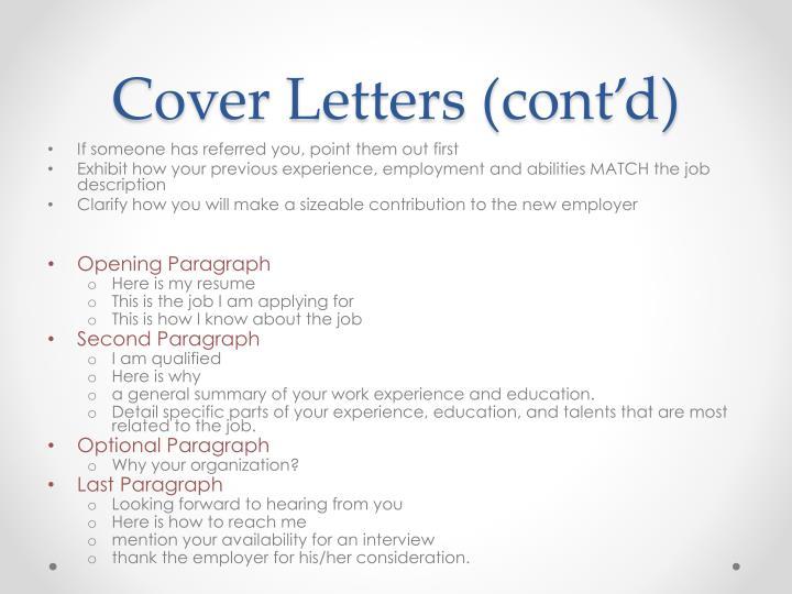 Cover Letters (cont'd)