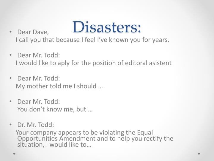 Disasters: