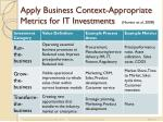 apply business context appropriate metrics for it investments