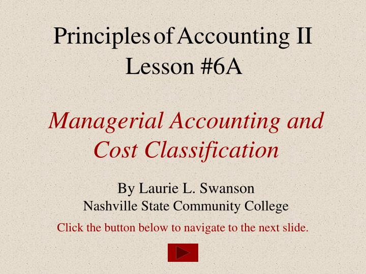 managerial accounting and cost classification n.