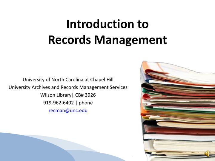 introduction to records management n.