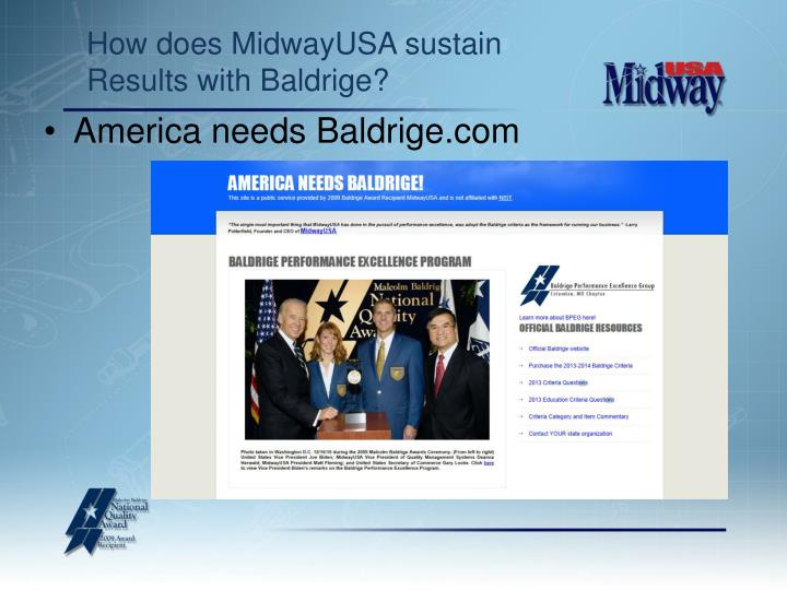 How does midwayusa sustain results with baldrige