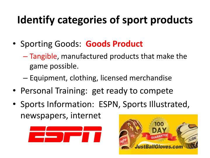 Identify categories of sport