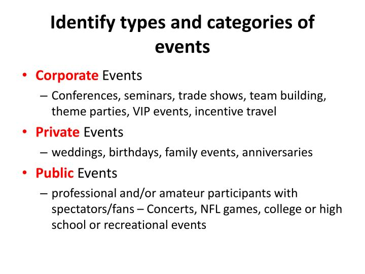Identify types and categories of events