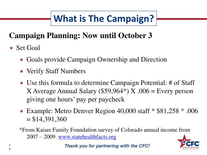 Campaign Planning: Now until October 3