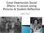 great depression social e ffects a lesson using pictures student reflection