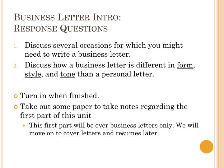Business letter intro response questions