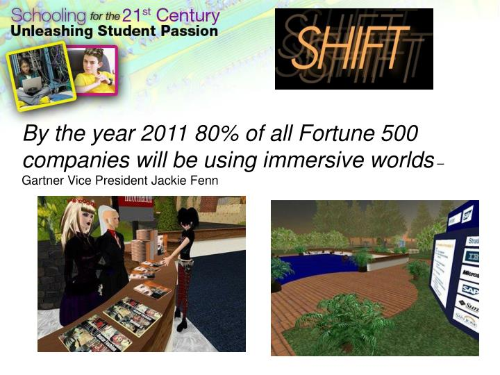 By the year 2011 80% of all Fortune 500 companies will be using immersive worlds
