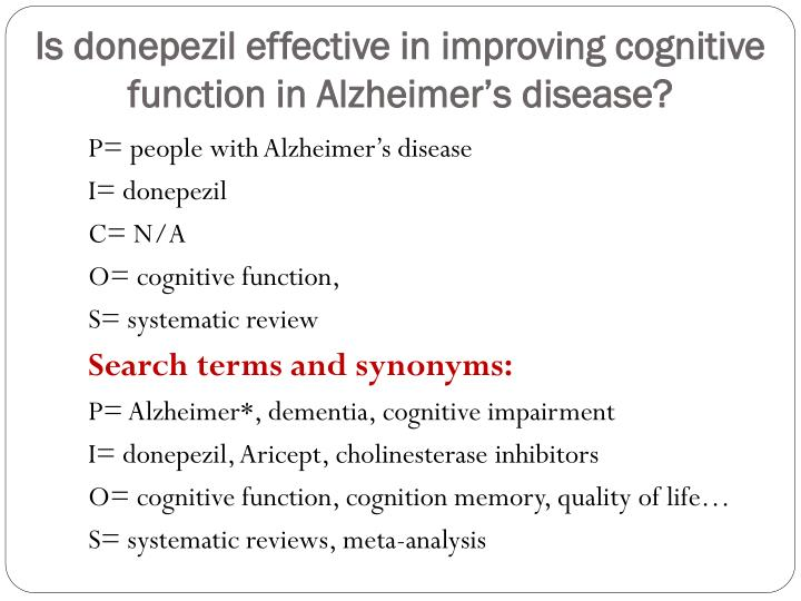 Is donepezil effective in improving cognitive function in Alzheimer's disease