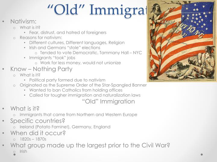 """Old"" Immigration"