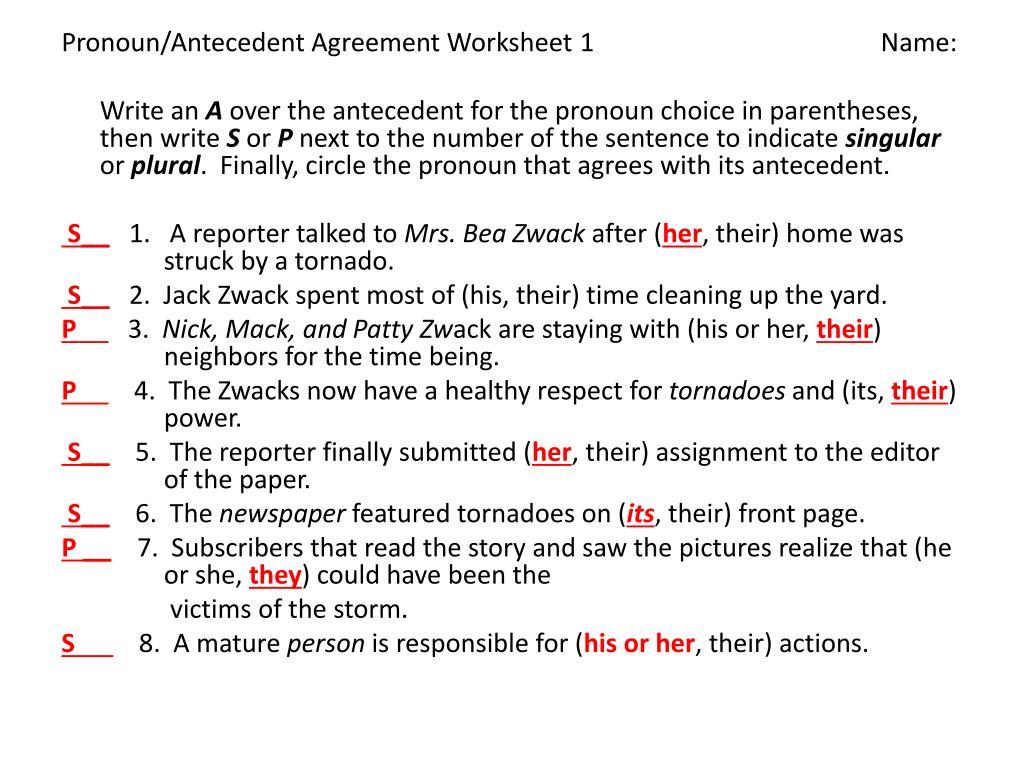 PPT - Pronoun-Antecedent Agreement PowerPoint Presentation, free Throughout Pronoun Antecedent Agreement Worksheet