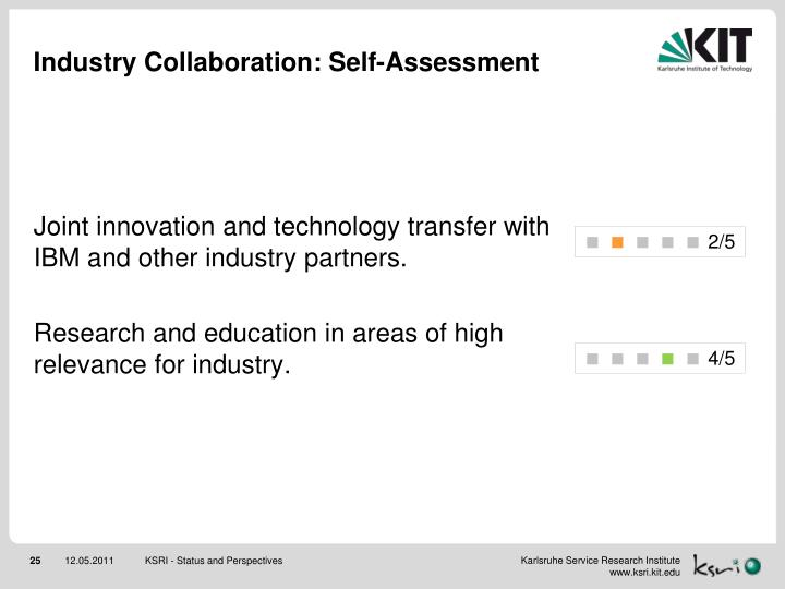 Industry Collaboration: Self-Assessment