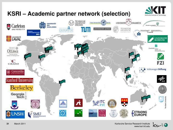 KSRI – Academic partner network (selection)