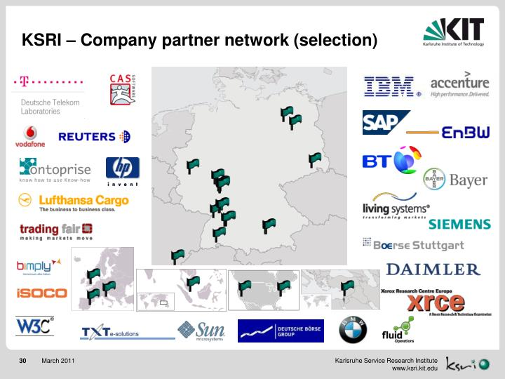 KSRI – Company partner network (selection)