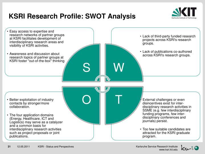 KSRI Research Profile: SWOT Analysis