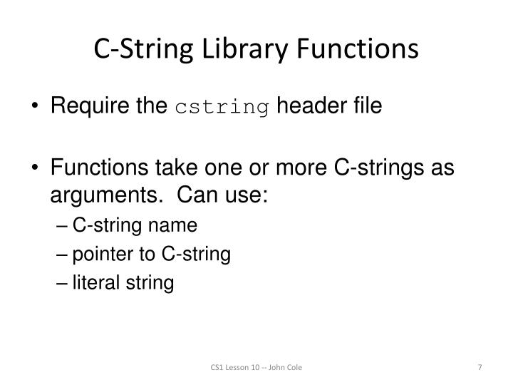C-String Library Functions