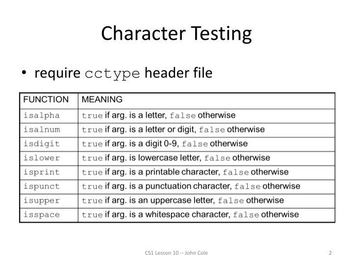 Character testing