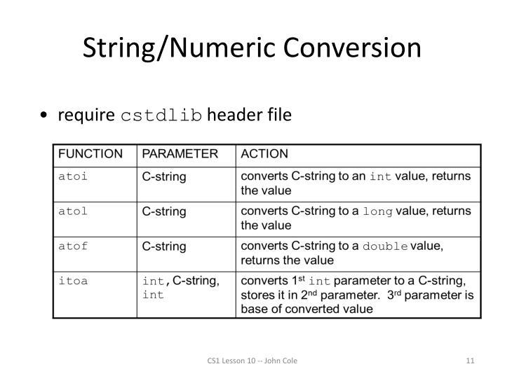 String/Numeric Conversion