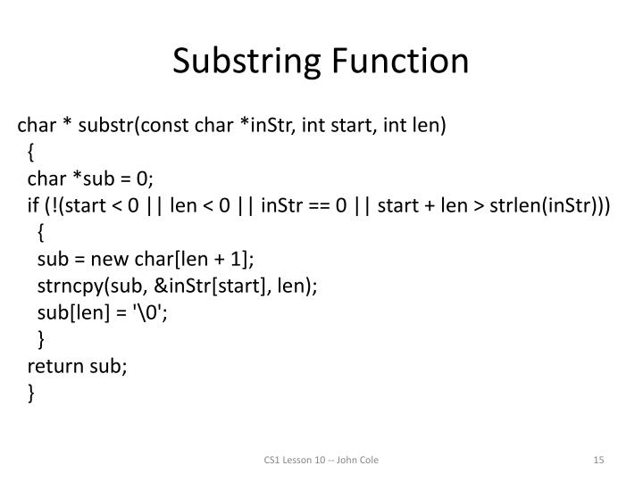 Substring Function