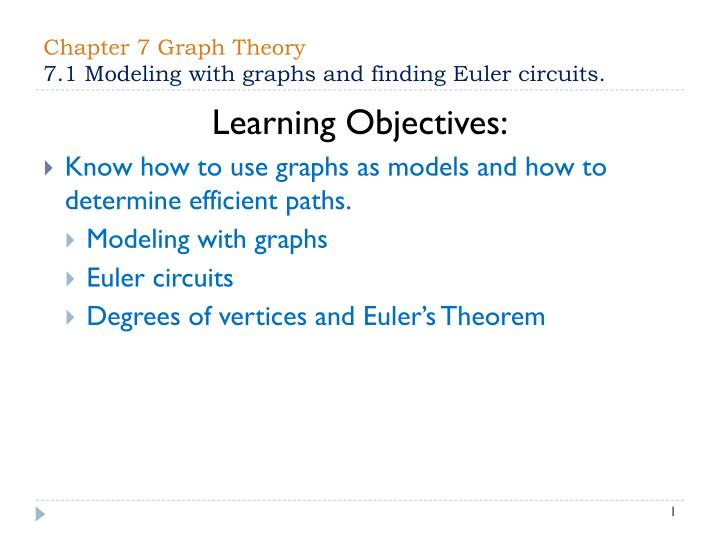 Chapter 7 graph theory 7 1 modeling with graphs and finding euler circuits