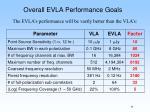 overall evla performance goals