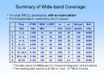 summary of wide band coverage
