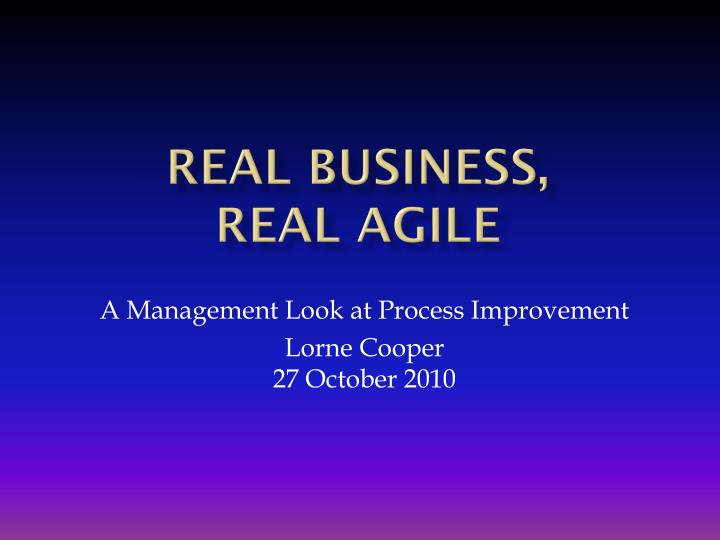 real business real agile n.