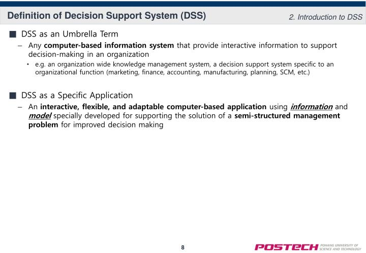 Definition of Decision Support System (DSS)