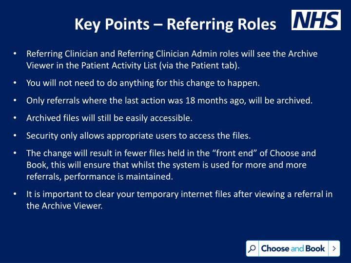 Key Points – Referring Roles