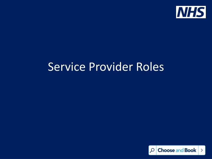 Service Provider Roles
