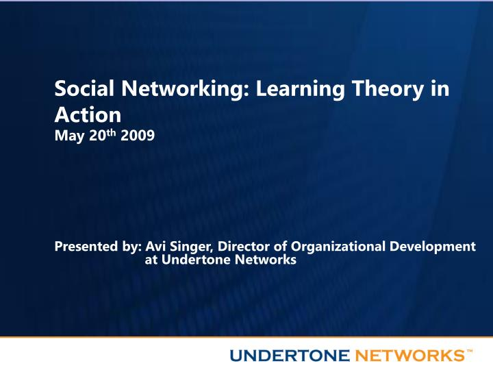 social networking learning theory in action n.