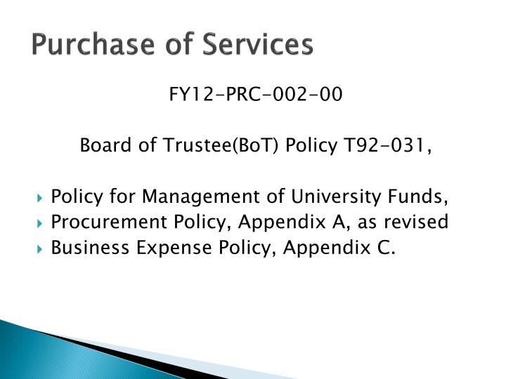 purchase of services n.