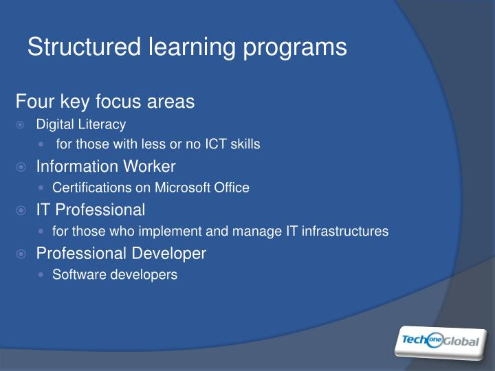 Structured learning programs