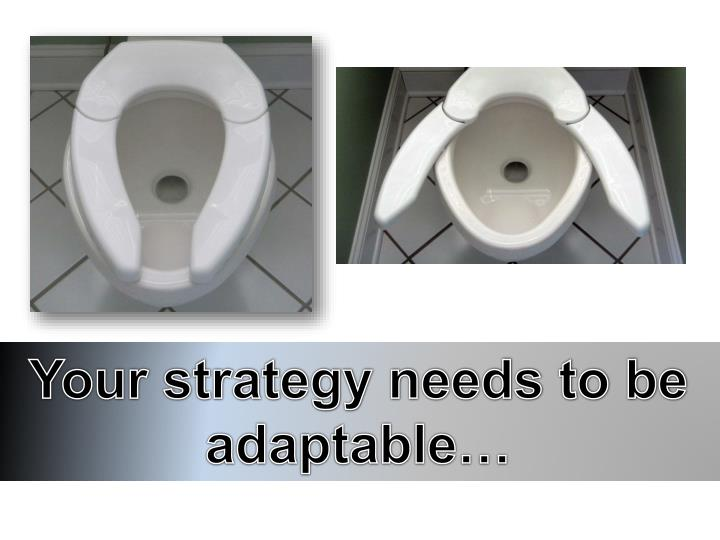 Your strategy needs to be adaptable…