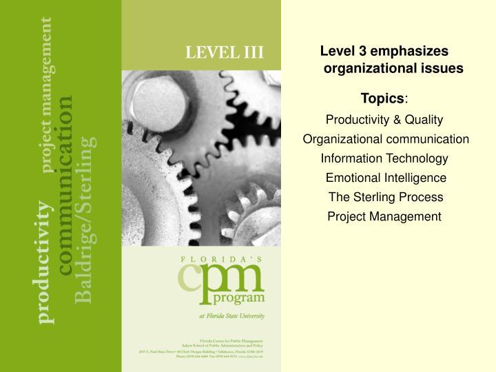 Level 3 emphasizes organizational issues