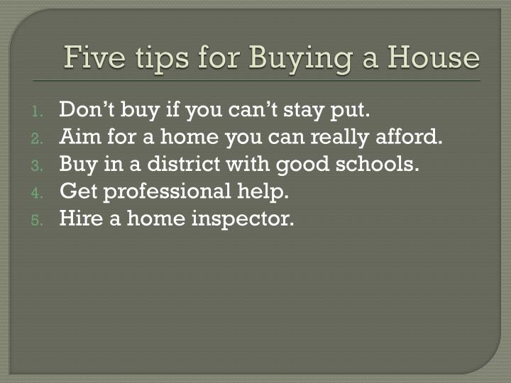 Five tips for Buying a House