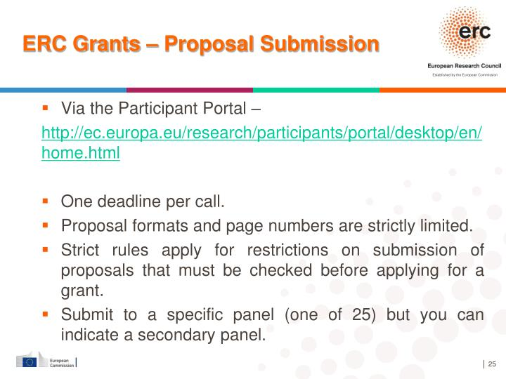 ERC Grants – Proposal Submission
