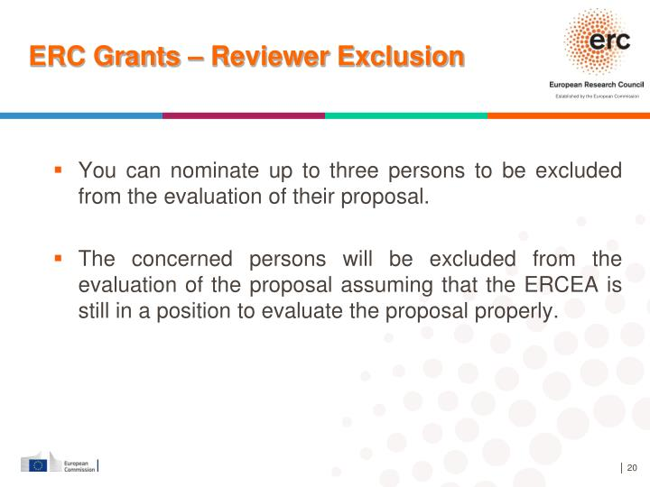 ERC Grants – Reviewer Exclusion