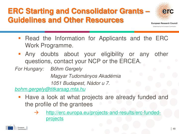 ERC Starting and Consolidator Grants – Guidelines and Other Resources
