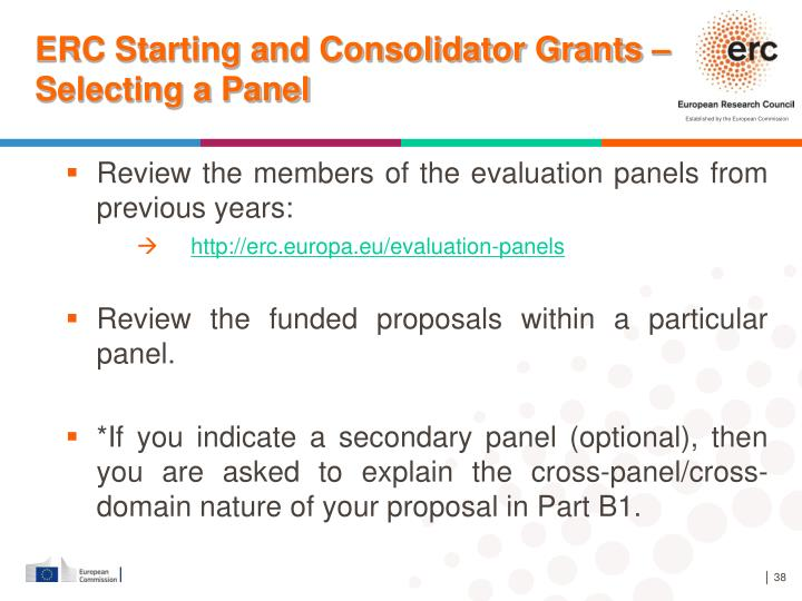 ERC Starting and Consolidator Grants –Selecting a Panel