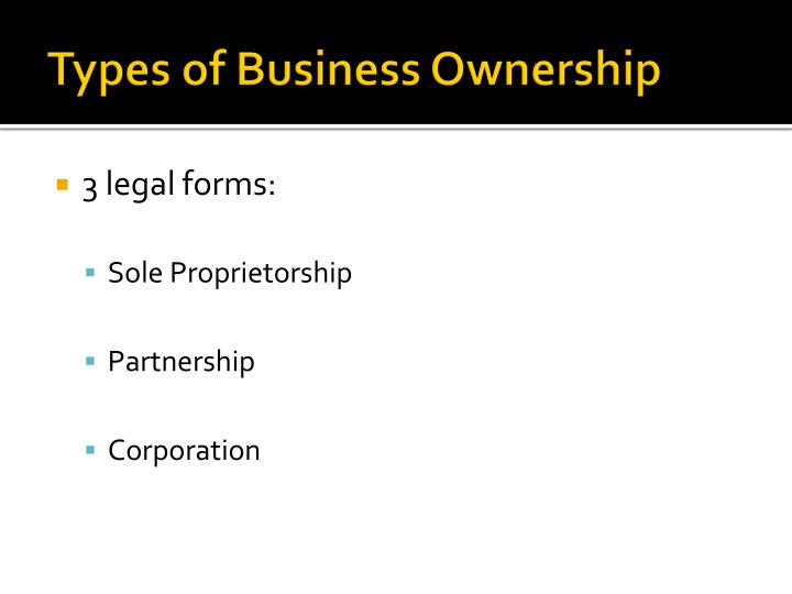 business types of ownership essay Business types of ownership before starting any venture it is very important to figure out how the organization is going to build its chain of command basically no business is made for short time and for this reason a very careful measurement should be done on ownership.