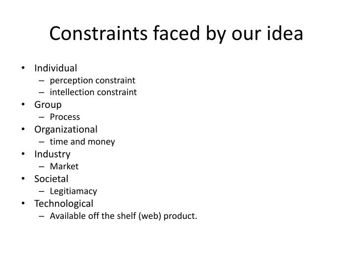 Constraints faced by our idea