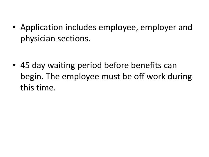 Application includes employee, employer and physician sections.