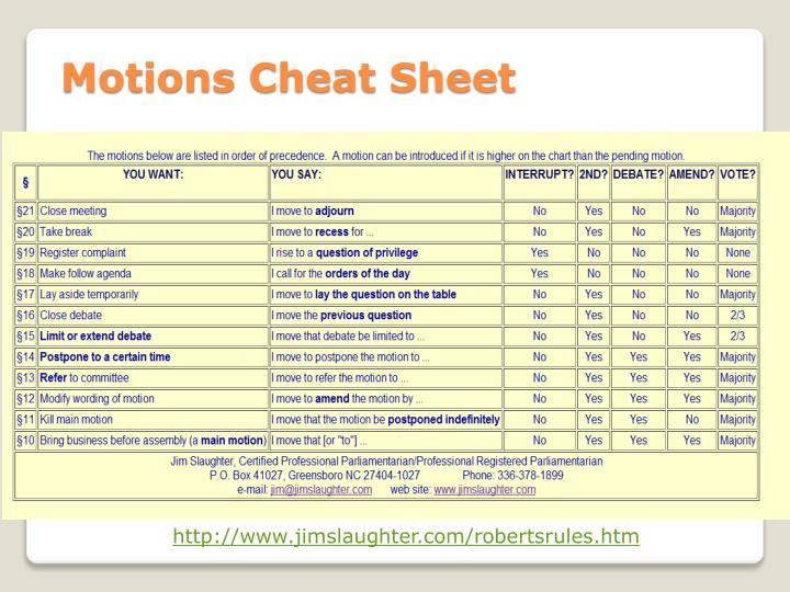 Motions Cheat Sheet