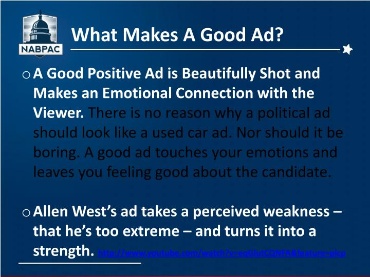 What Makes A Good Ad?