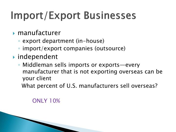 Import export businesses