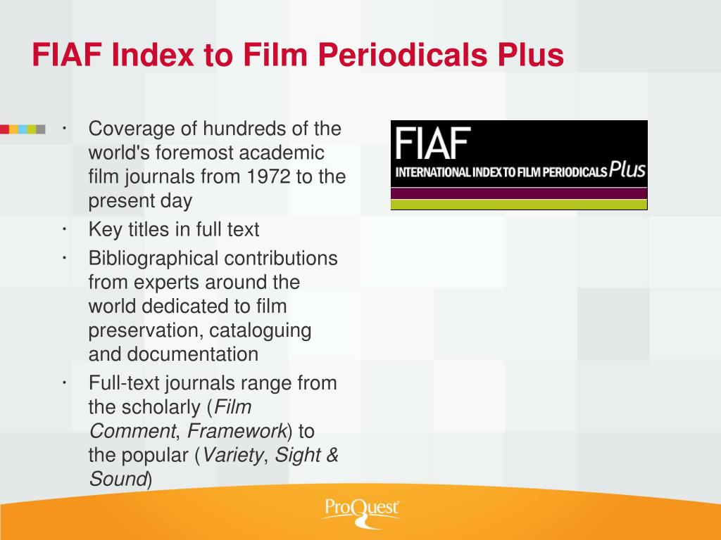 PPT - ProQuest Film, Music & Performing Arts Package
