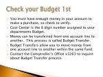 check your budget 1st