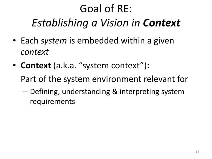 Goal of RE: