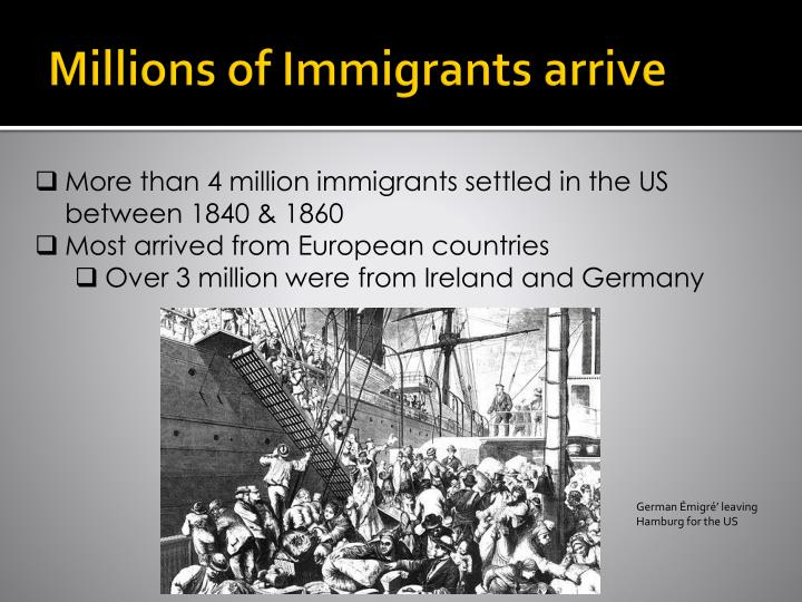 irish migration between 1840 and 1860 Between 1846 and 1860, more than 15 million irish immigrants arrived in the country, settling mostly in the north east the irish migration to the us was in the 1830s and 1840s, anti-immigrant feelings rose some americans feared that immigrants were changing the character of the us too much.